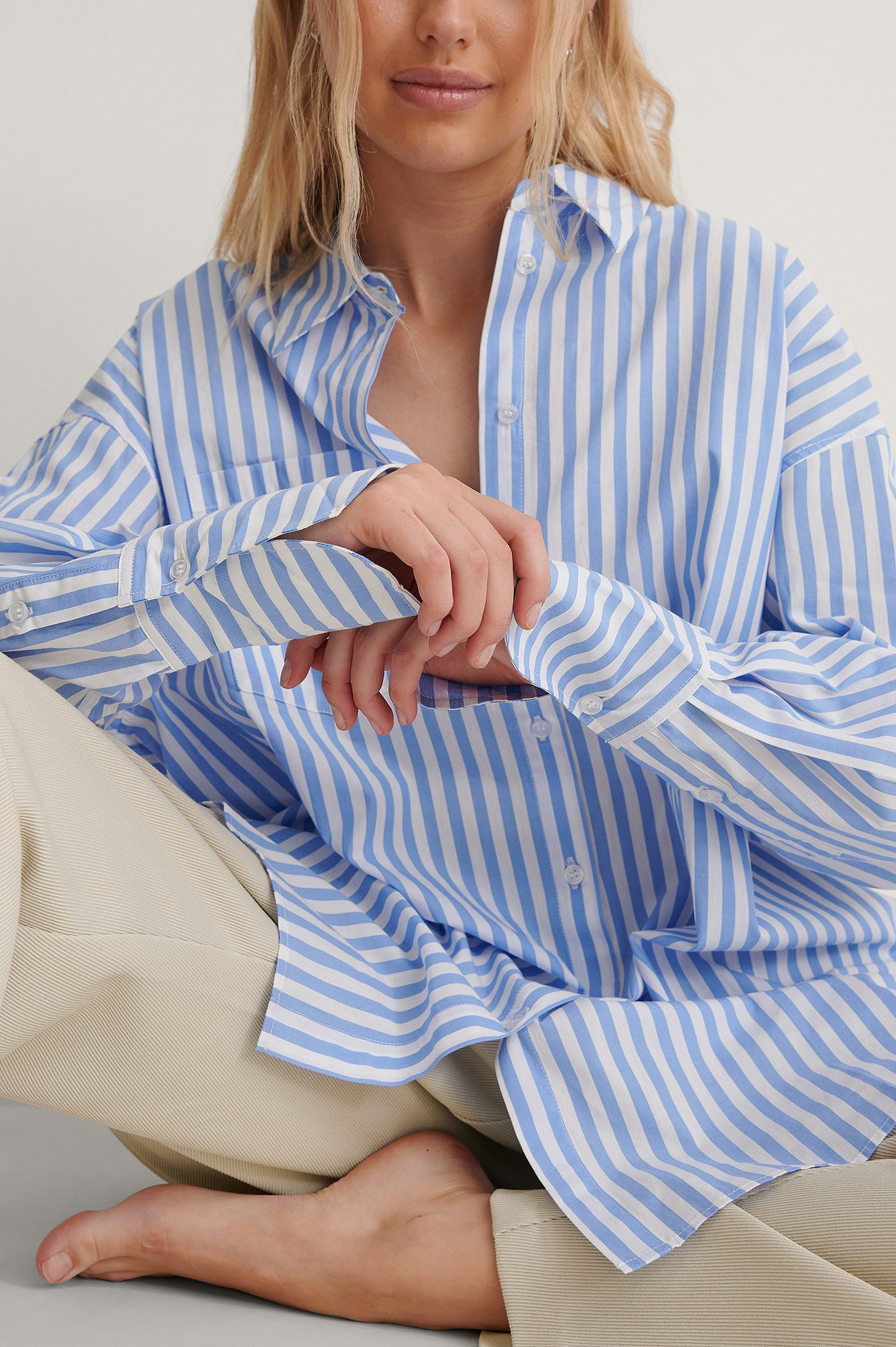 Blue/White Oversized Striped Pocket Shirt