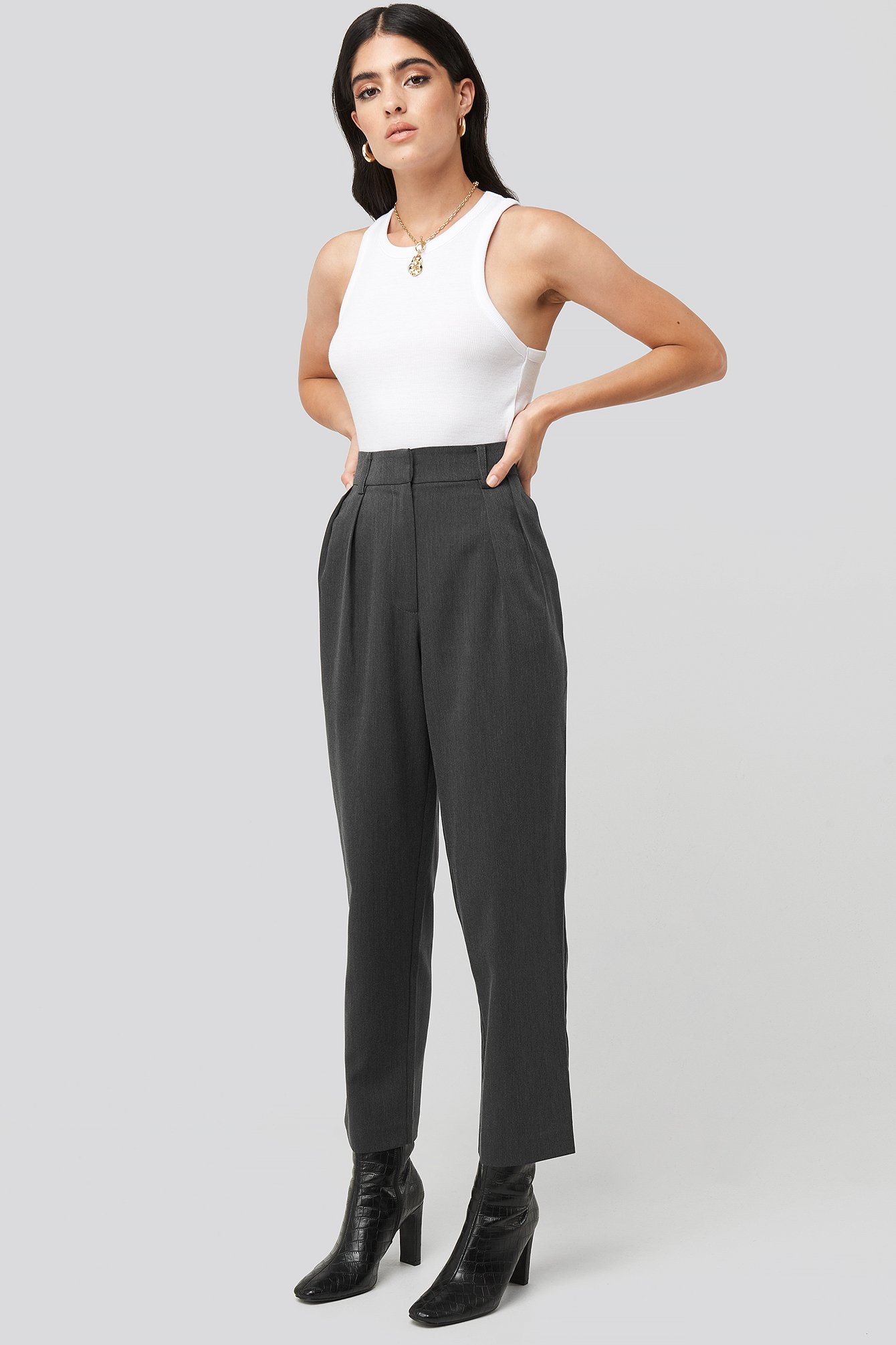 na-kd classic -  Oversized Suit Pants - Grey