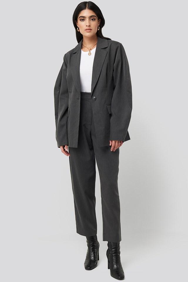 Oversized Suit Pants Dark Grey