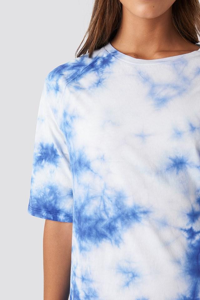 Oversized Tie Dye T-shirt Dress Blue