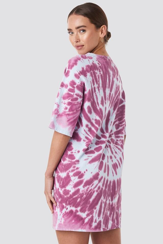 Oversized Tie Dye T-shirt Dress Purple