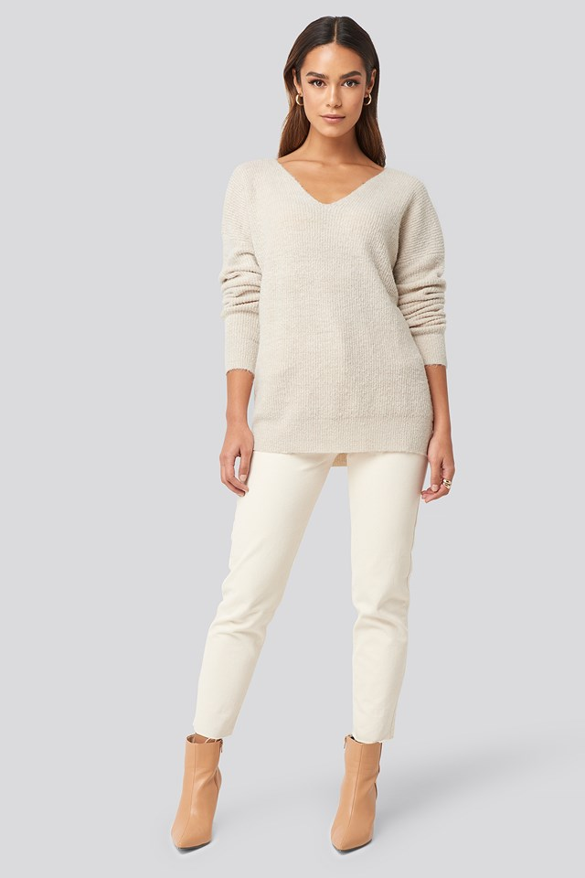 Oversized V Neck Knitted Sweater Beige