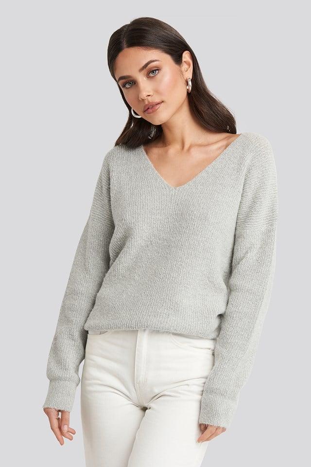 Oversized V Neck Knitted Sweater Grey