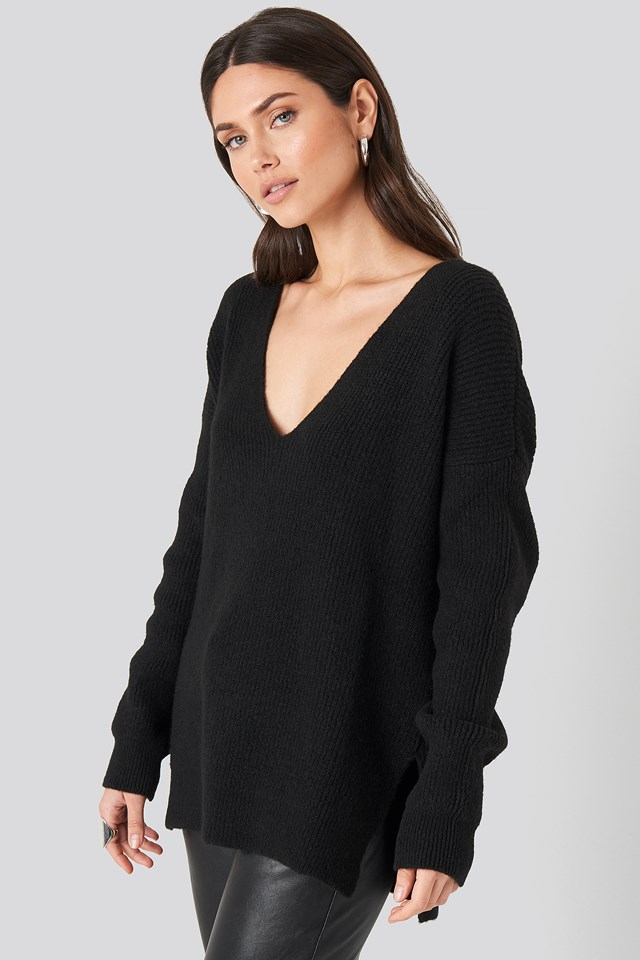 Oversized V Neck Knitted Sweater Black