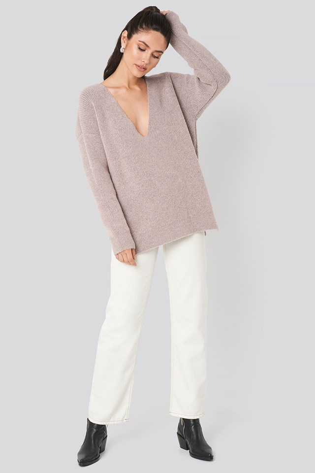Oversized V Neck Knitted Sweater Pink