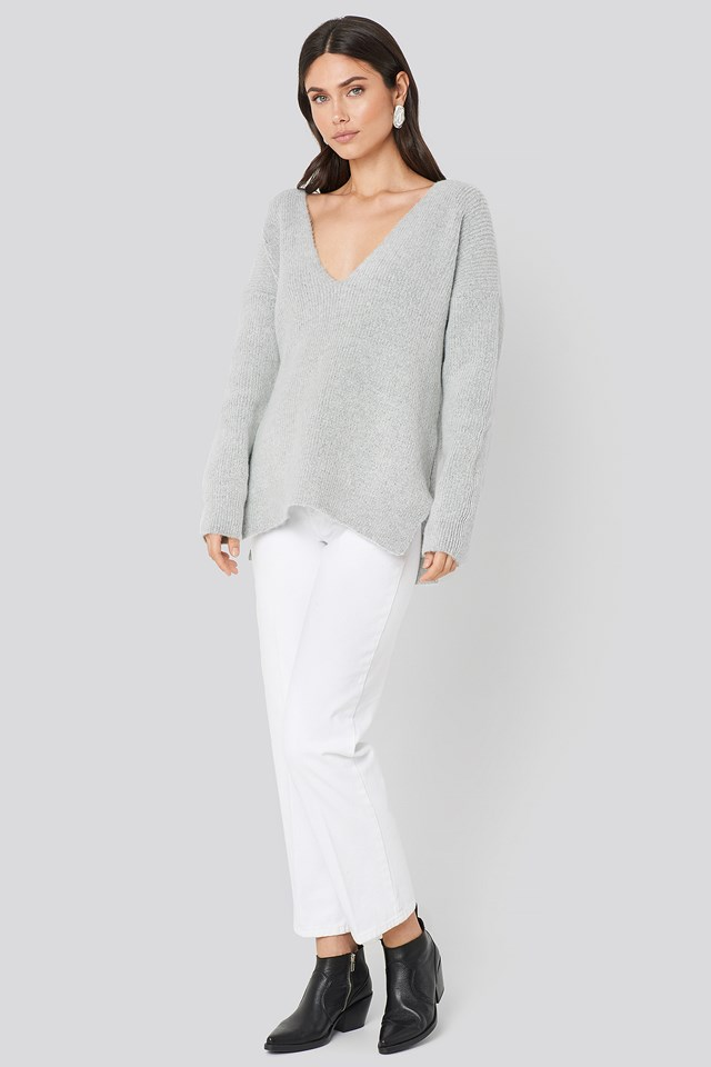 Oversized V Neck Knitted Sweater Grey Marl