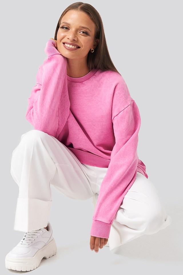 Oversized Washed Sweatshirt Pink