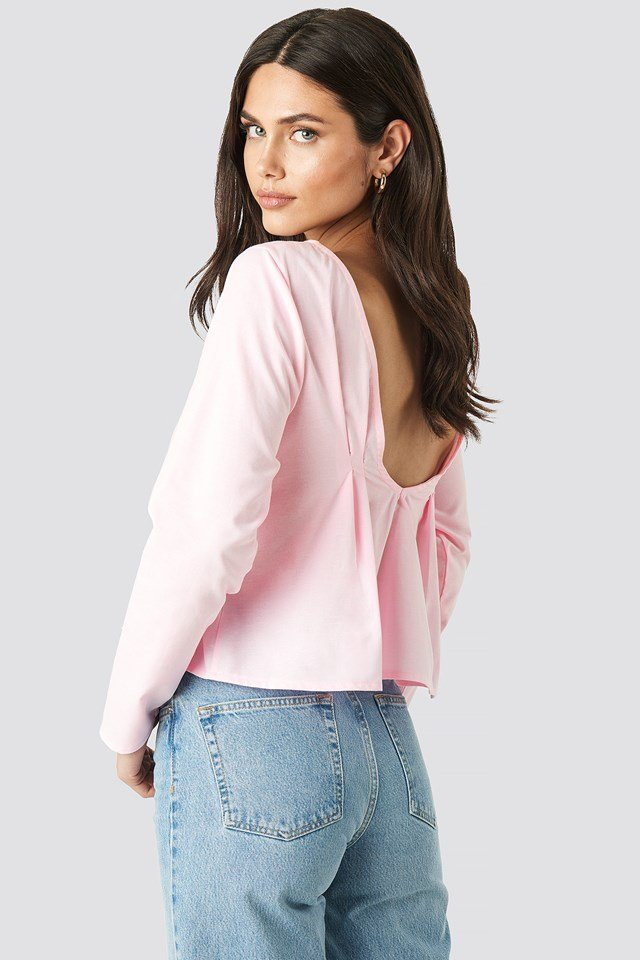 Oxford Long Sleeve Shirt With Open Back Pink