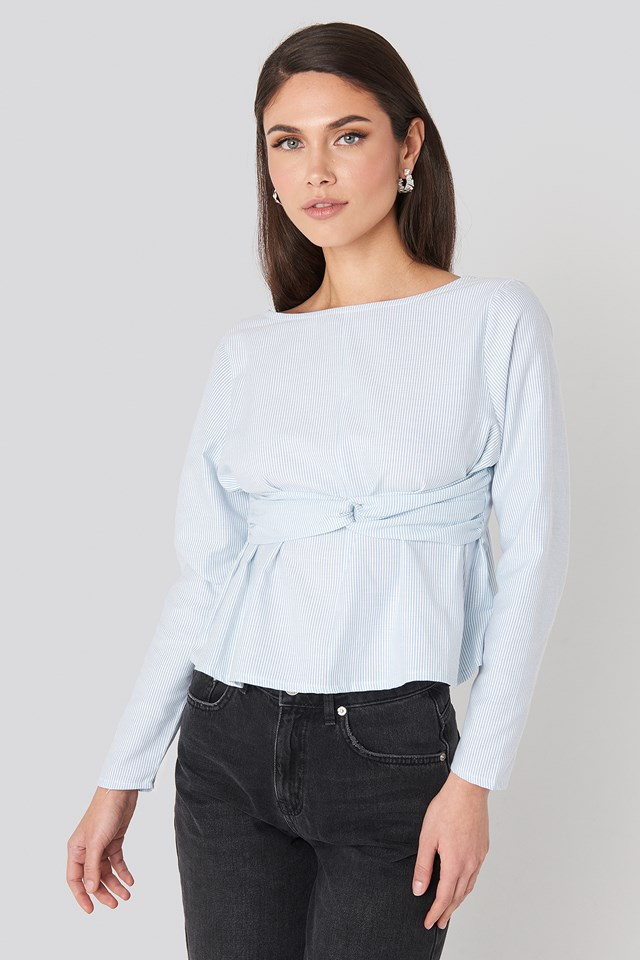 Oxford Long Sleeve Shirt With Open Back Blue/White