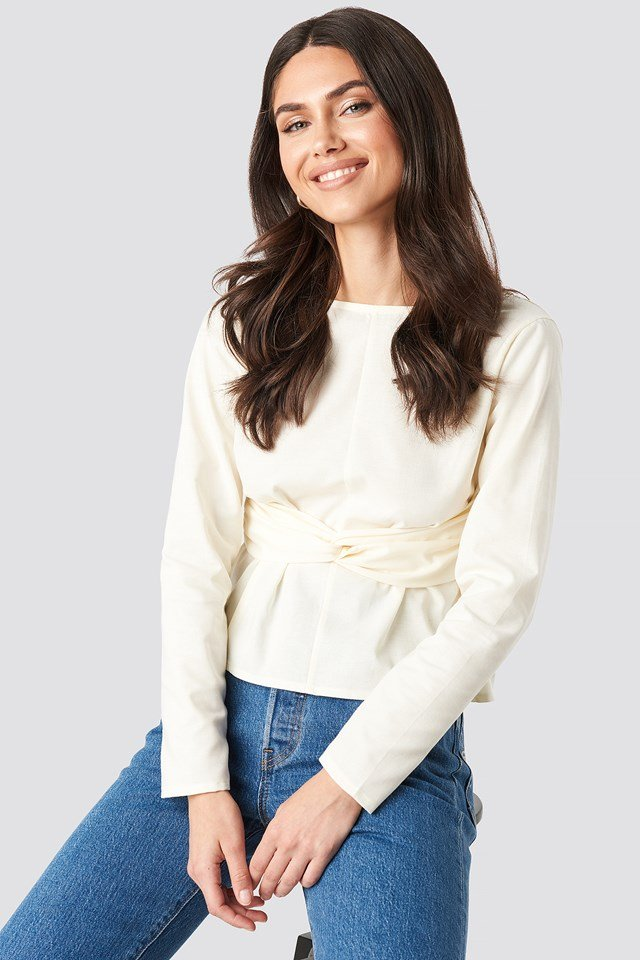 Oxford Long Sleeve Shirt With Open Back Off White