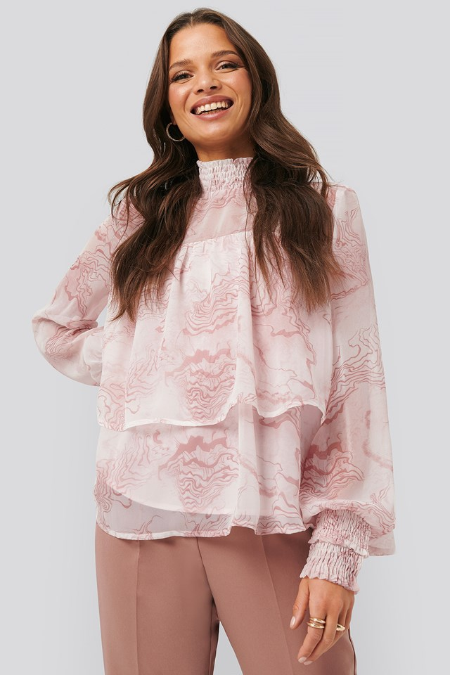 Oyster Printed Smocked Blouse Pink Print