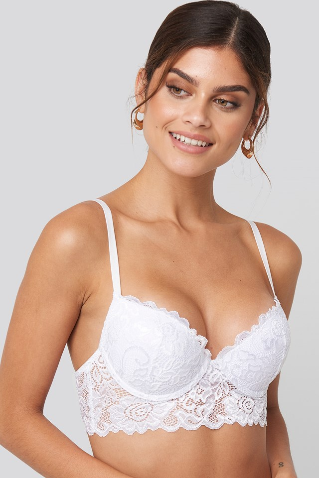 Padded Cup Lace Bralette White