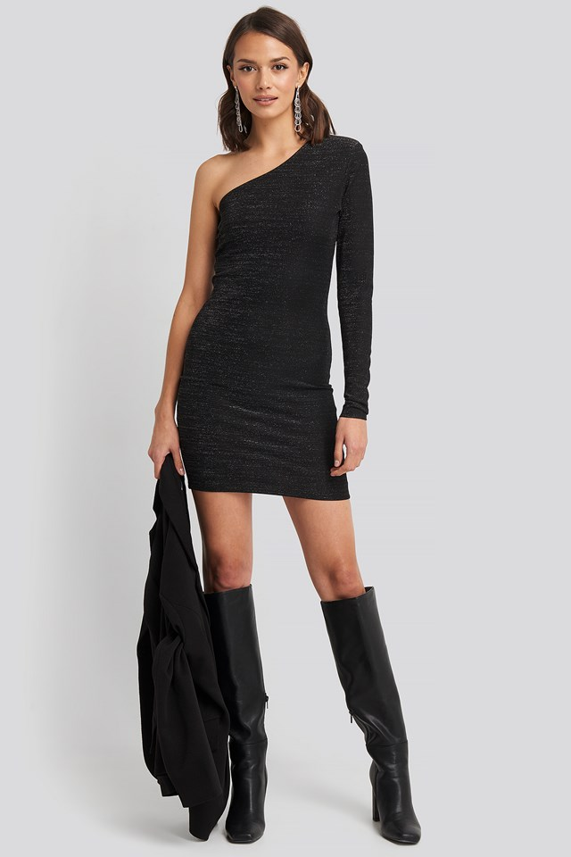 Padded Glittery One Shoulder Dress Black