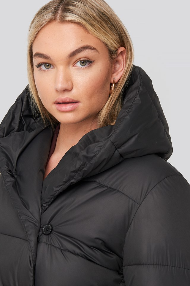 Padded Hood Long Jacket Black