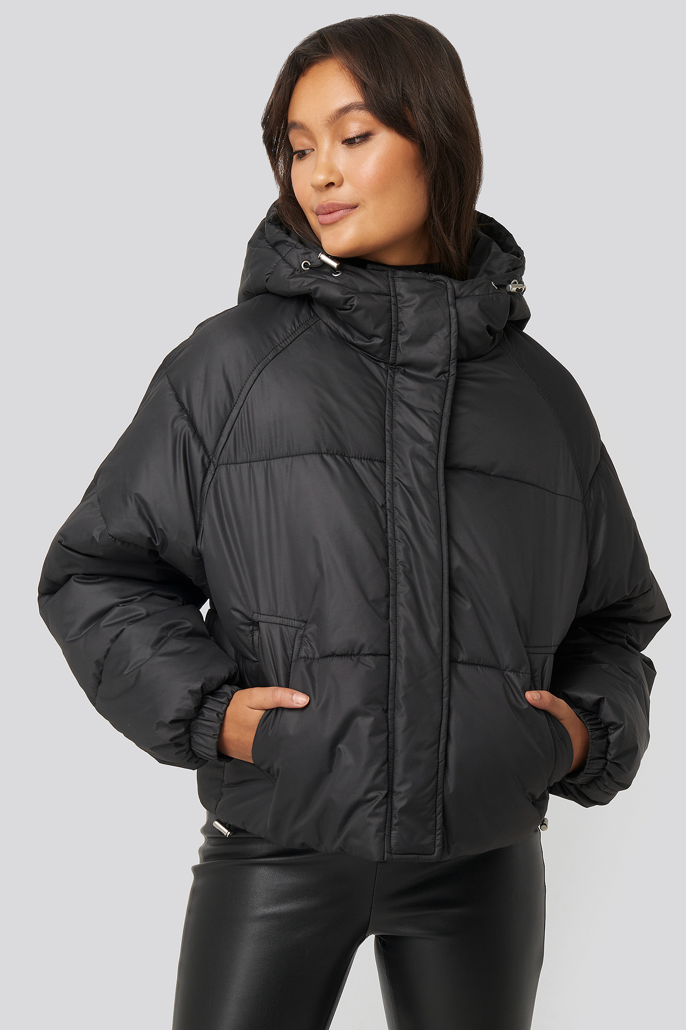 Black Padded Hooded Jacket