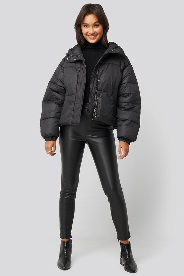 Padded Hood Short Jacket Black