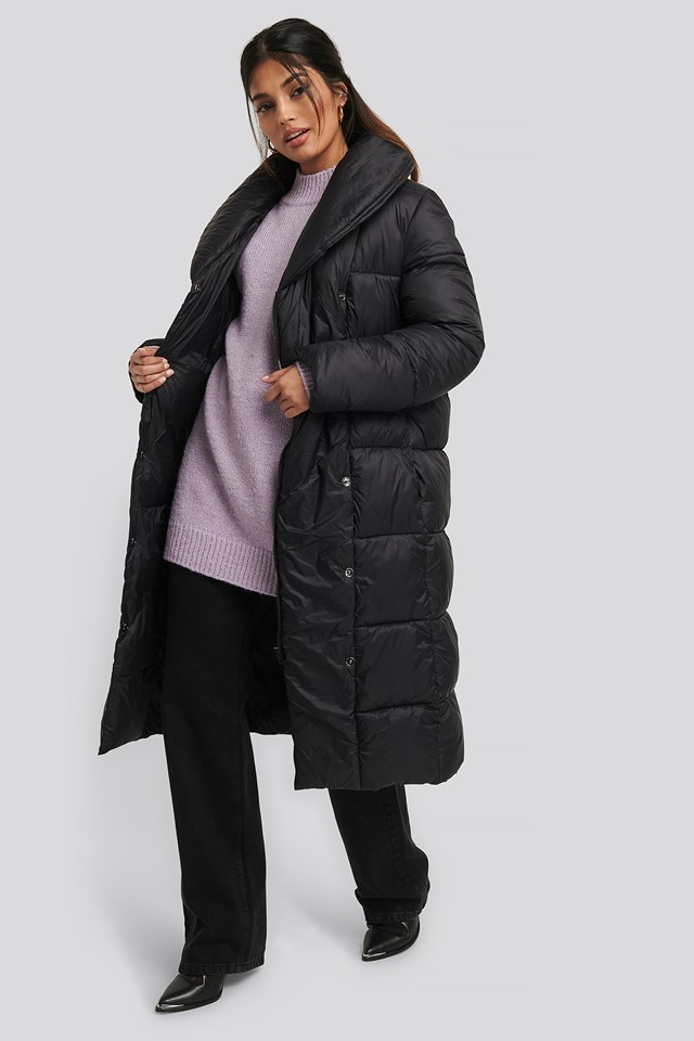 Padded Long Jacket Black
