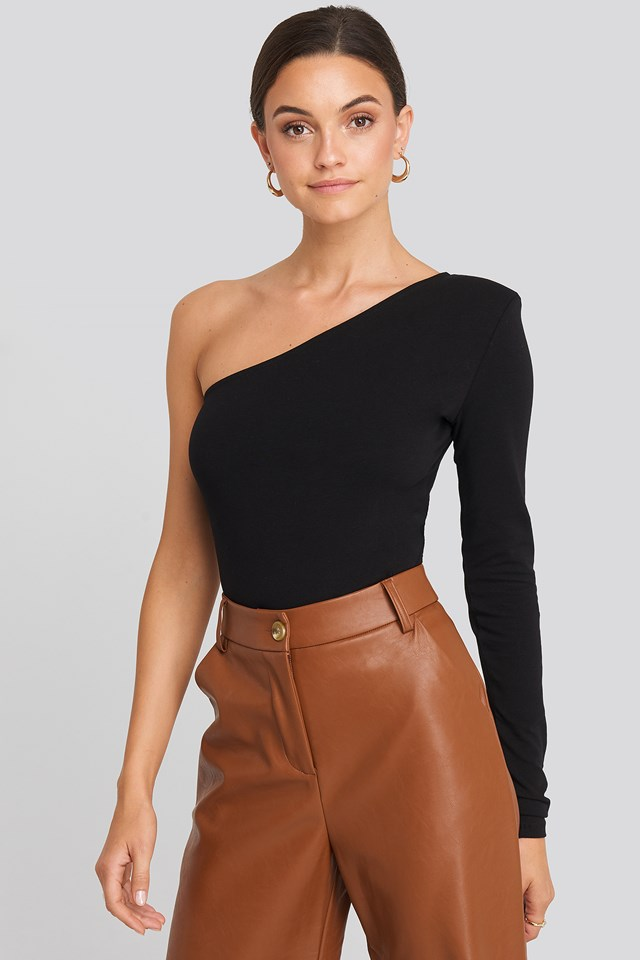 Padded One Shoulder Body Black