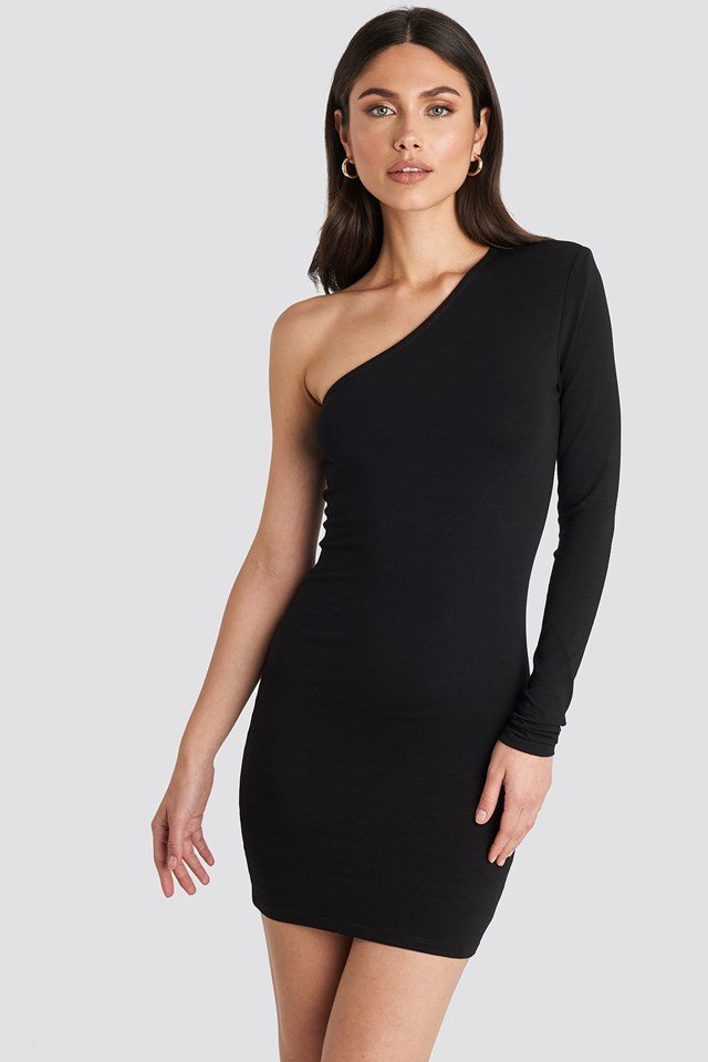 Padded One Shoulder Dress Black