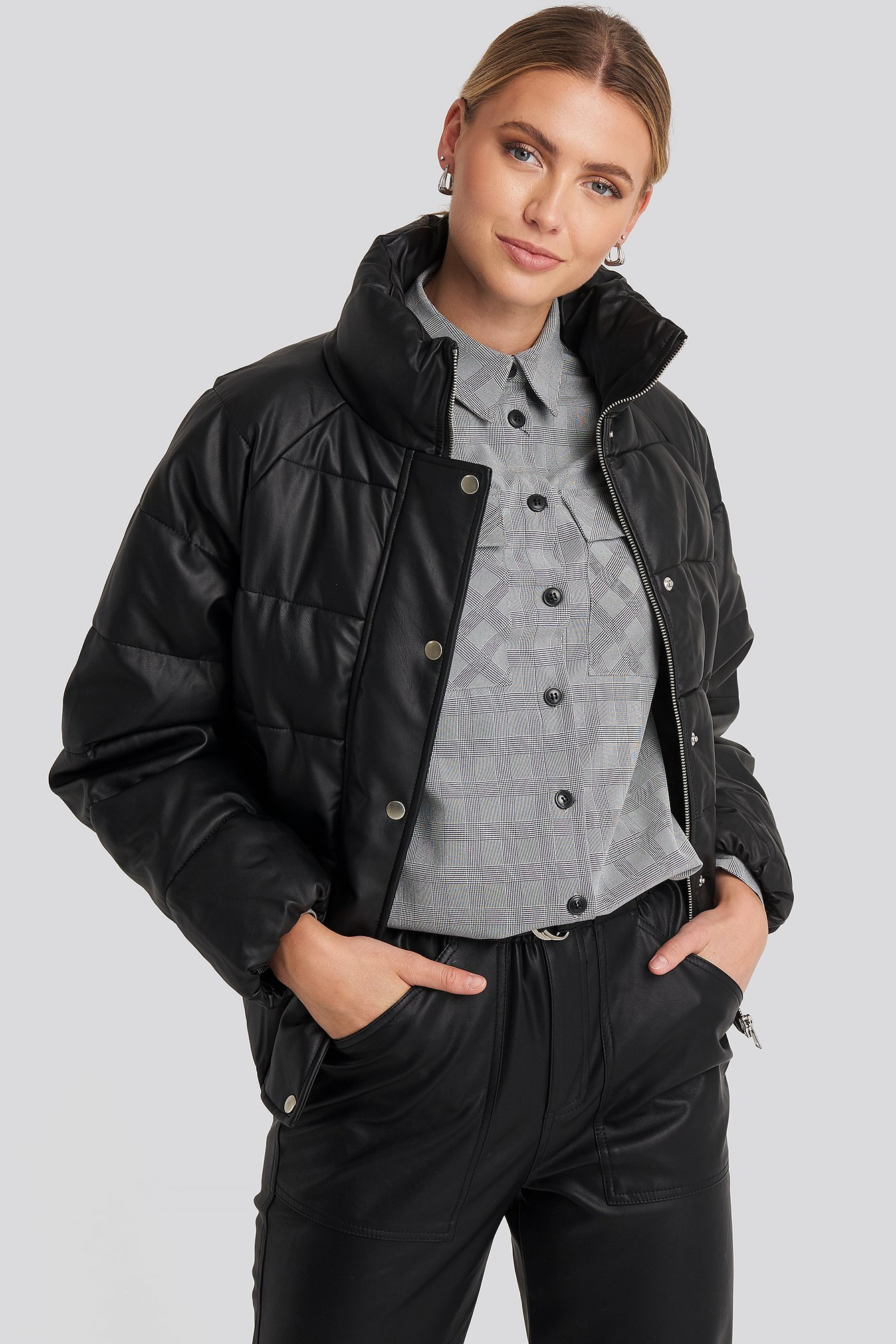 Black Padded PU Leather Jacket