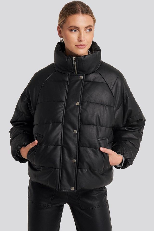 Padded PU Leather Jacket Black
