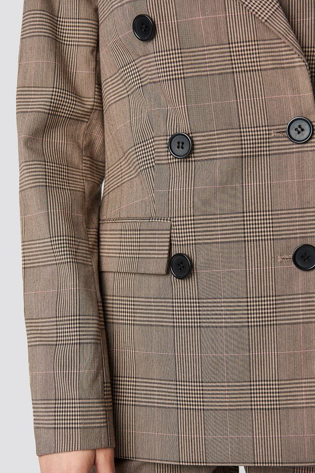 Padded Shoulder Checkered Blazer NA-KD.COM