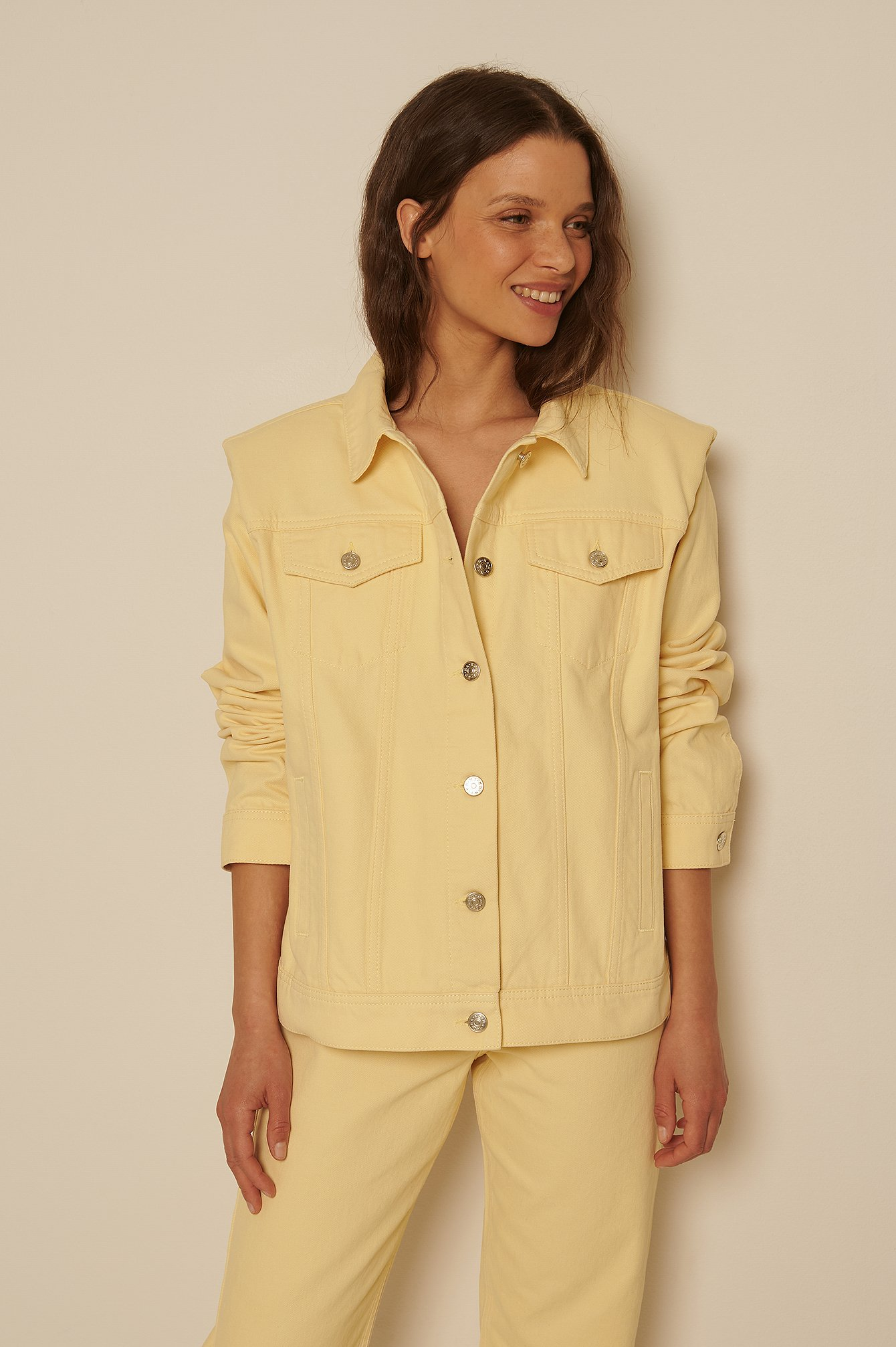 na-kd trend -  Organisch Jeansjacke - Yellow