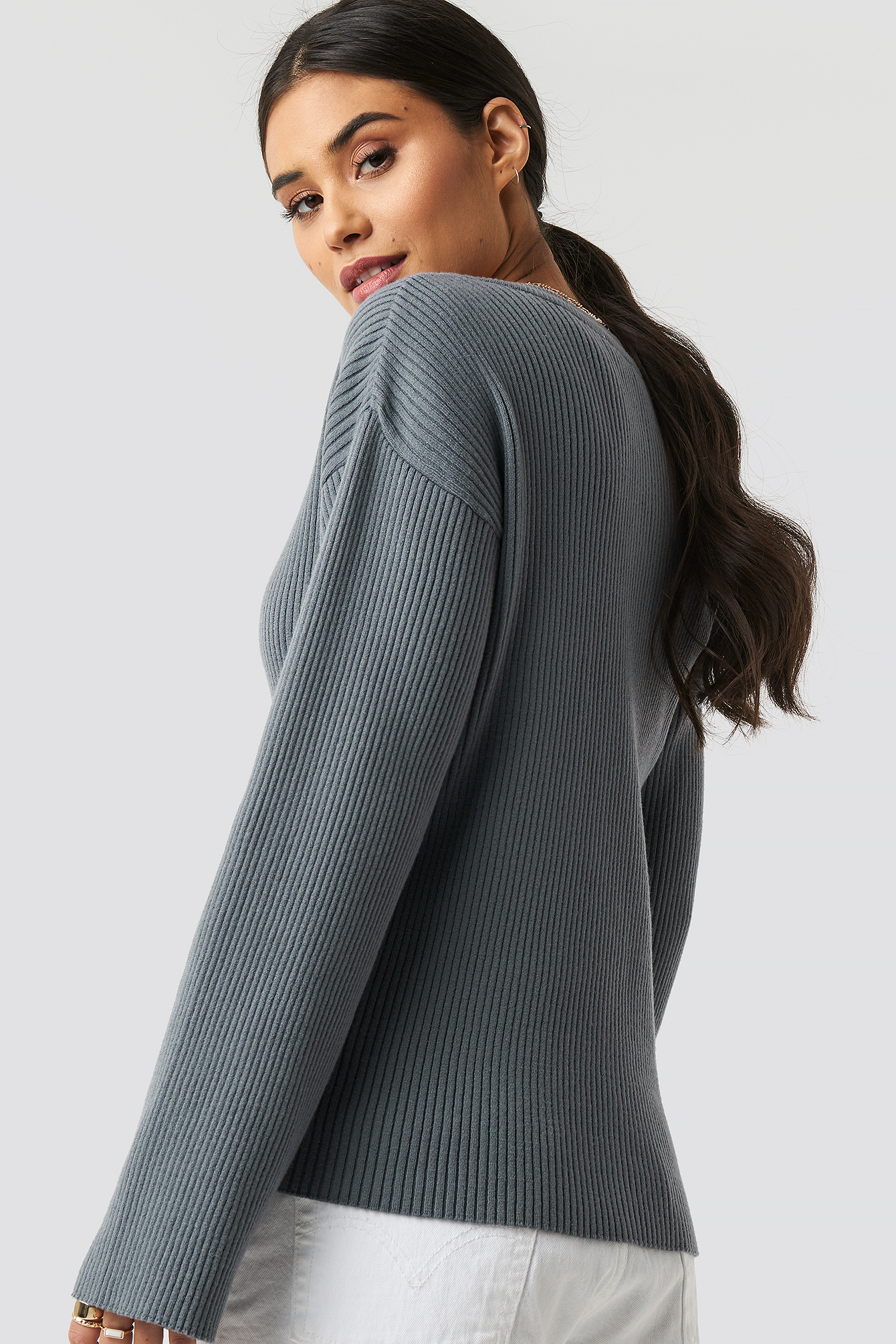 Paige Rib Knitted Button Top NA-KD.COM