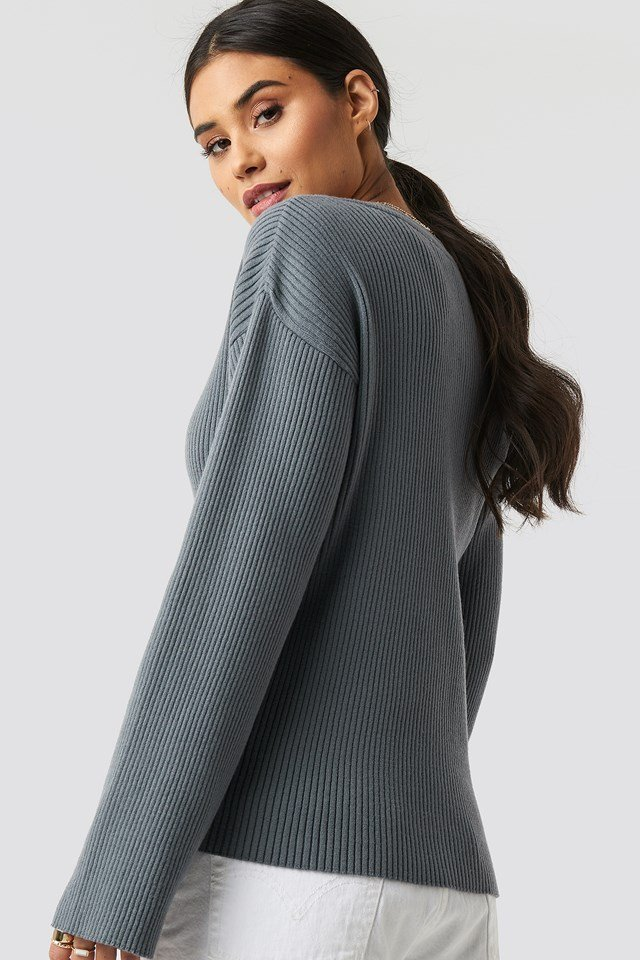 Paige Rib Knitted Button Top Grey