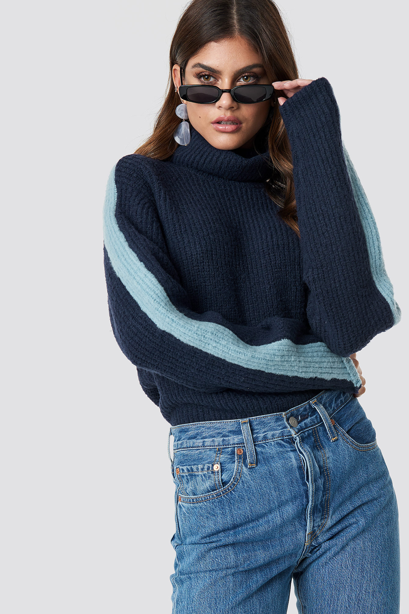 na-kd -  Panel Knitted Sweater - Blue