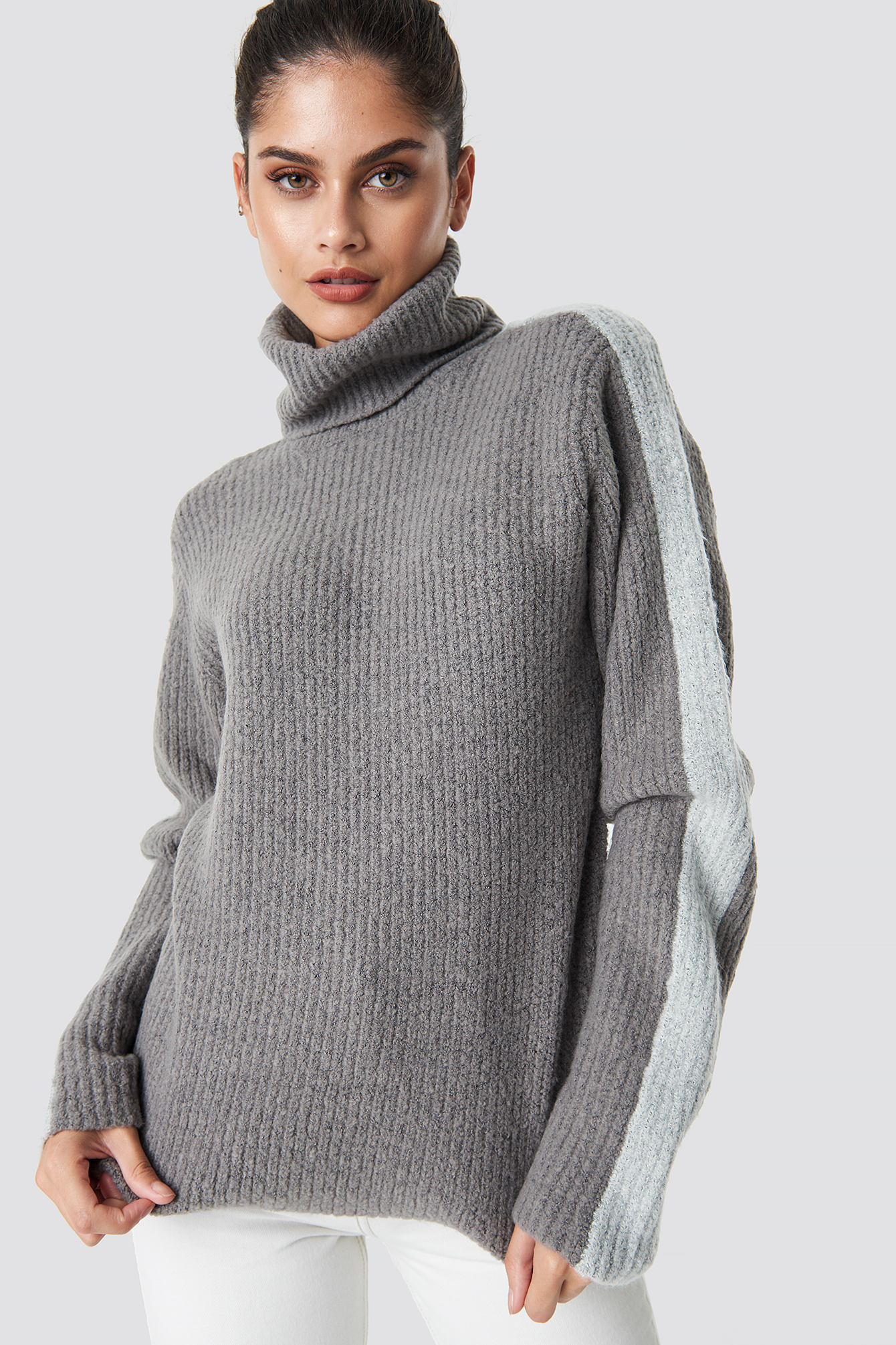 na-kd -  Panel Knitted Sweater - Grey