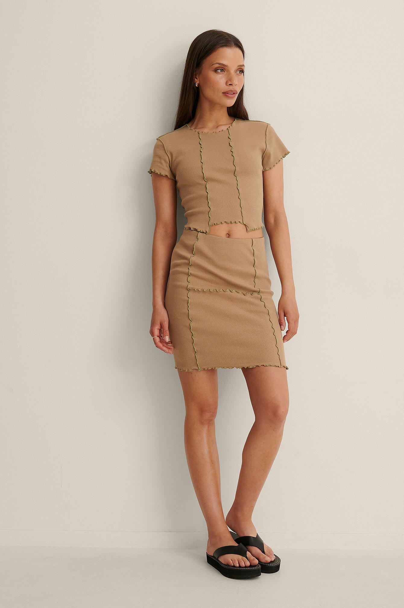 Chloé Monchamp x NA-KD Økologisk nederdel i baner - Brown