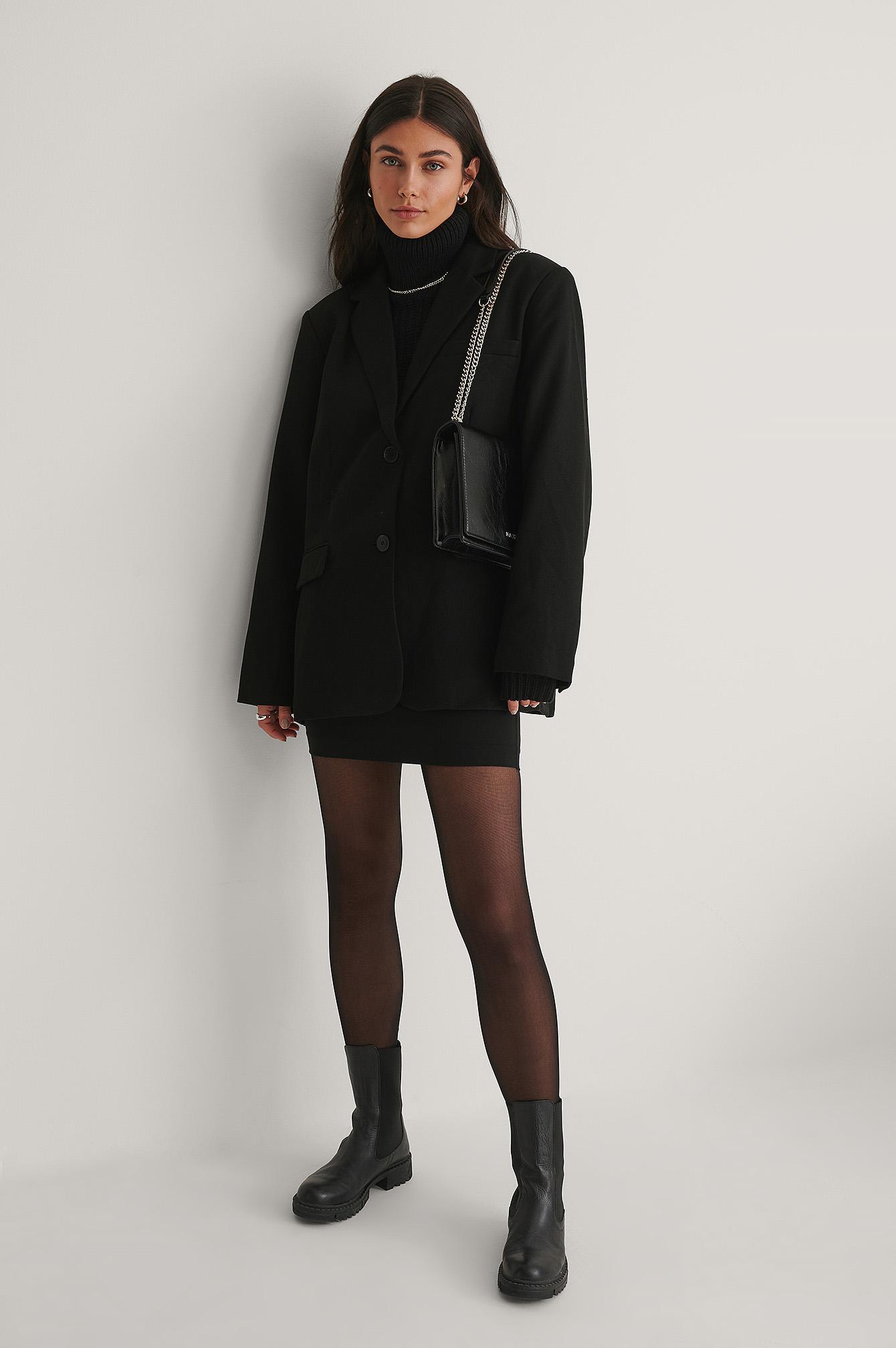na-kd accessories -  Lack-Tasche Mit Kette - Black