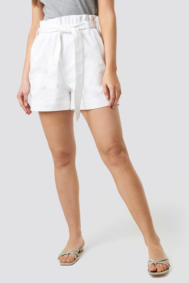 Paper Bag Cotton Shorts White