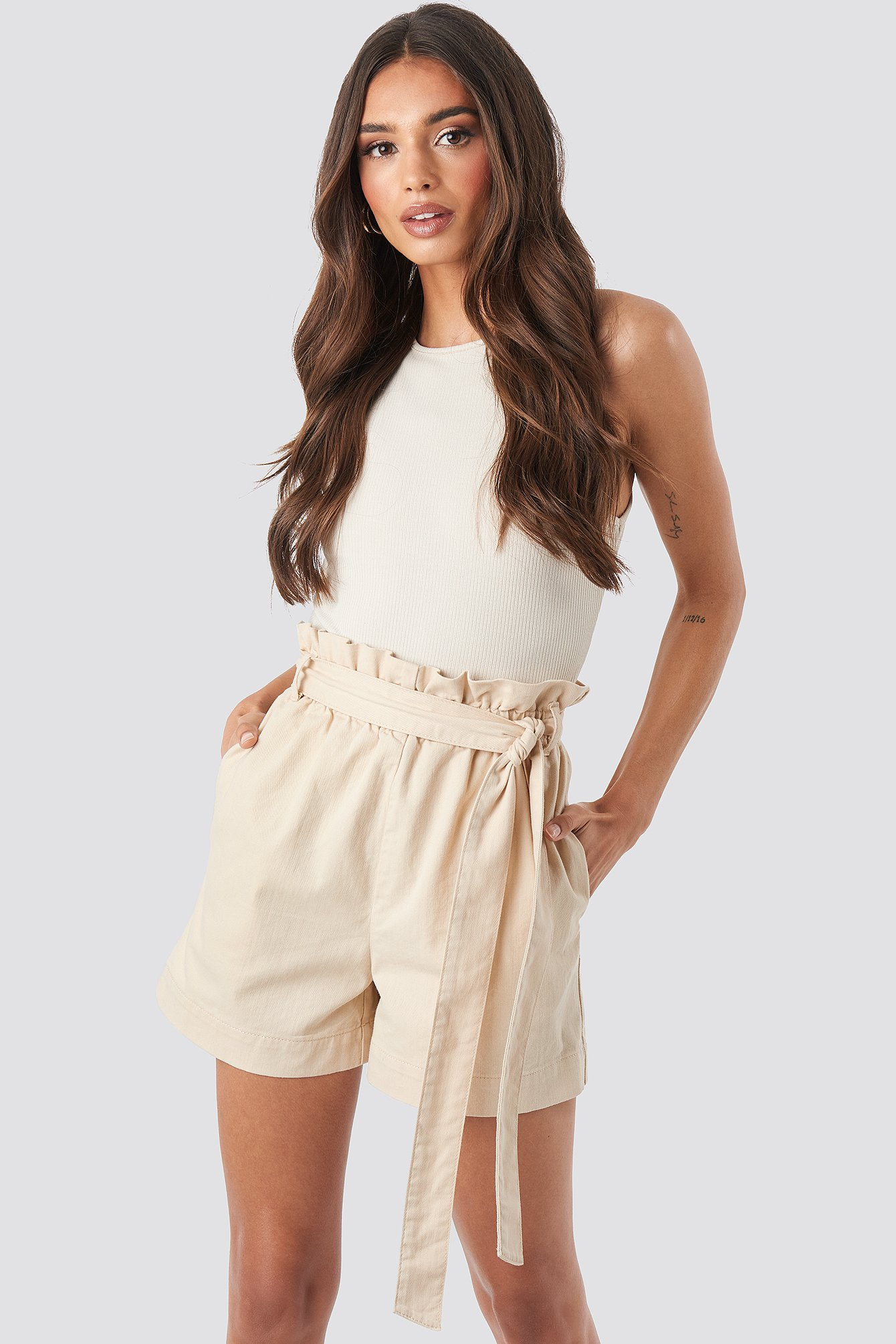 Beige Paper Bag Cotton Shorts
