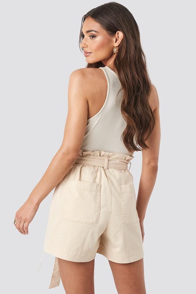 Paper Bag Cotton Shorts Beige