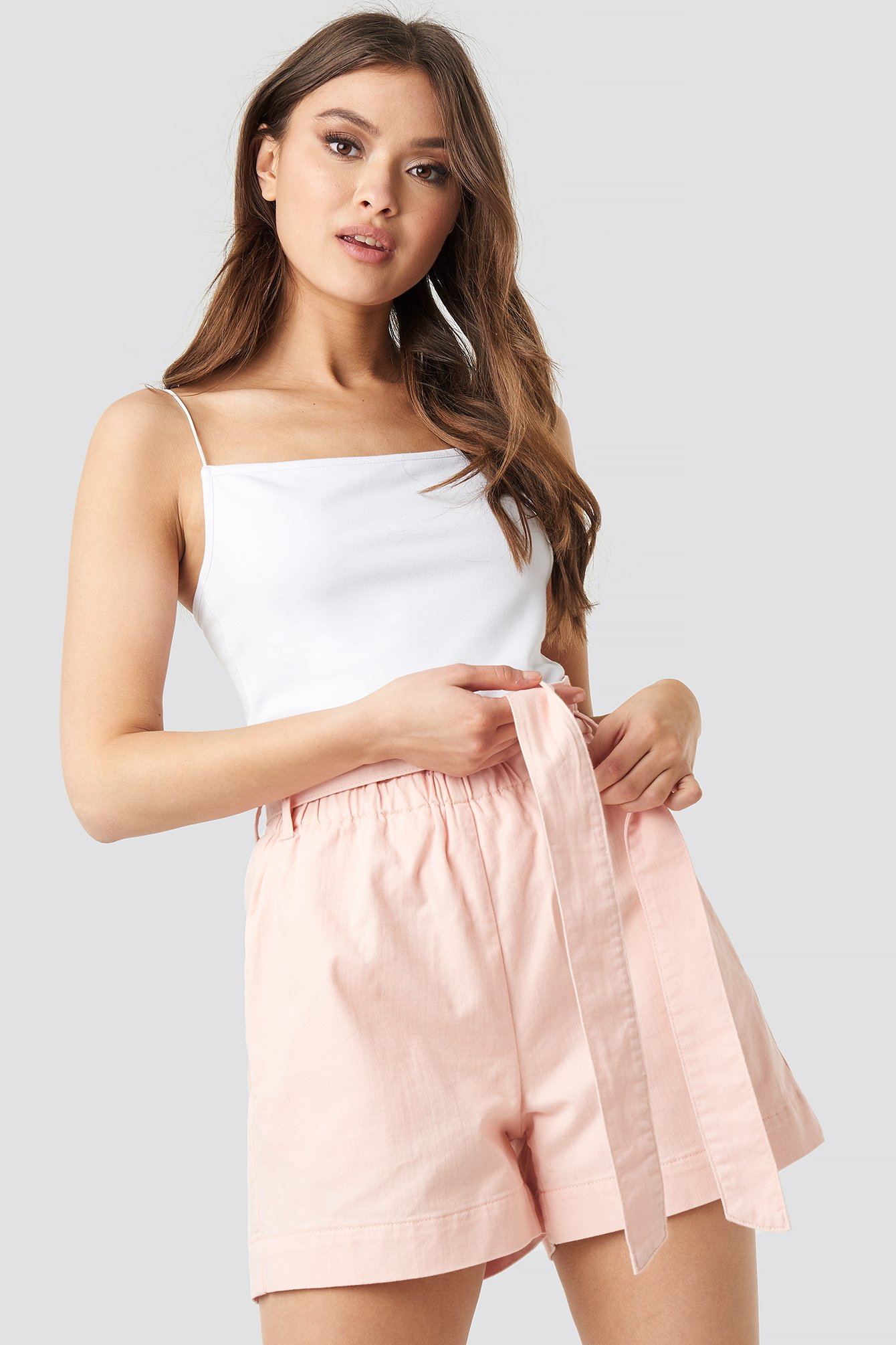Pink Paper Bag Cotton Shorts