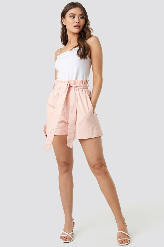 Paper Bag Cotton Shorts Pink