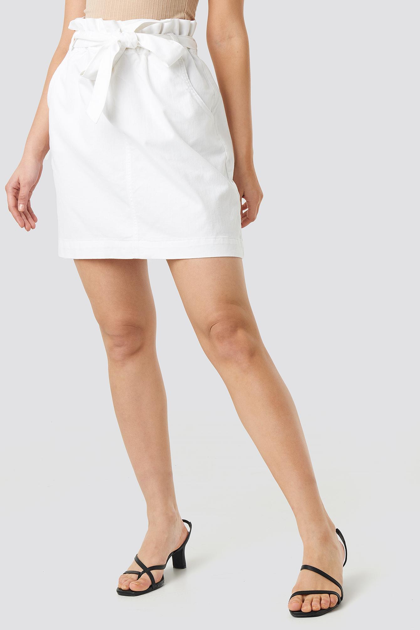 Paper Bag Waist Denim Mini Skirt NA-KD.COM