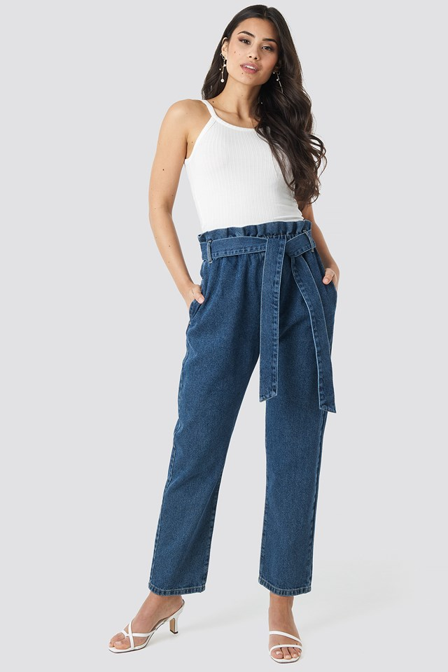 Paper Bag Waist Mom Jeans Mid Blue