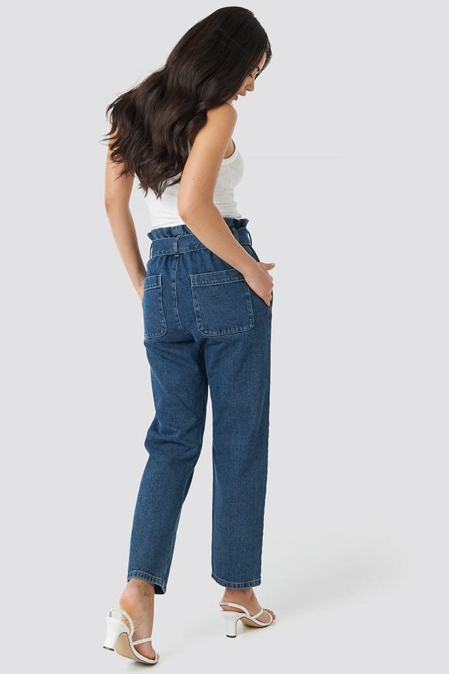 Paper Bag Waist Mom Jeans Mid Blue