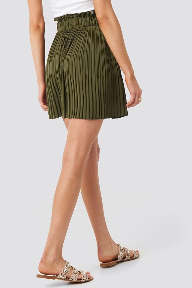 Paper Waist Mini Skirt Khaki Green