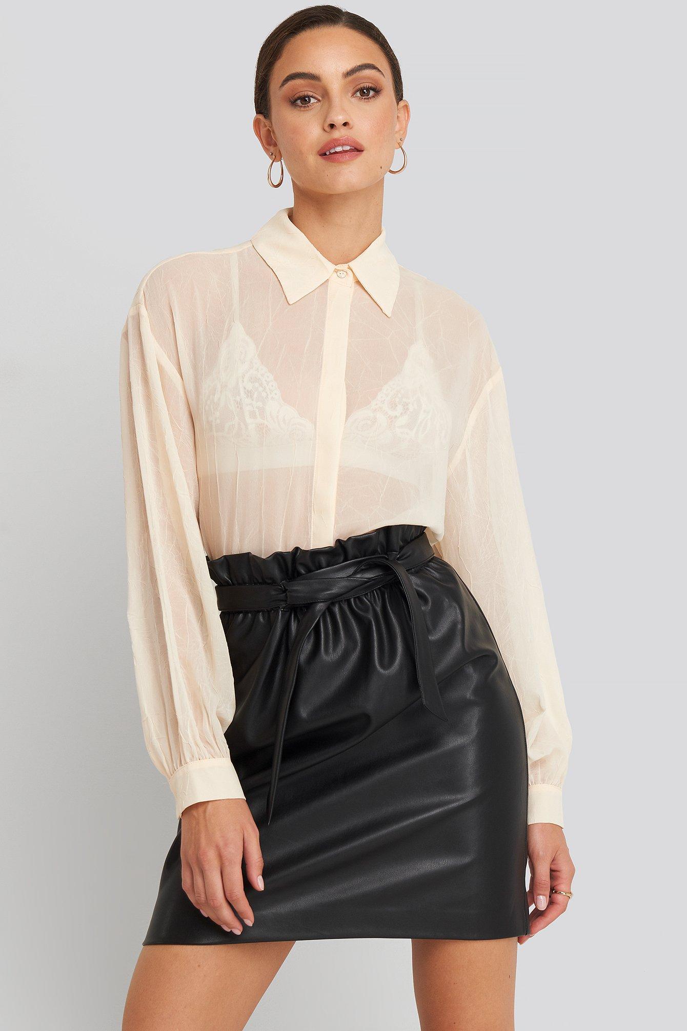 na-kd party -  Paper Waist PU Skirt - Black