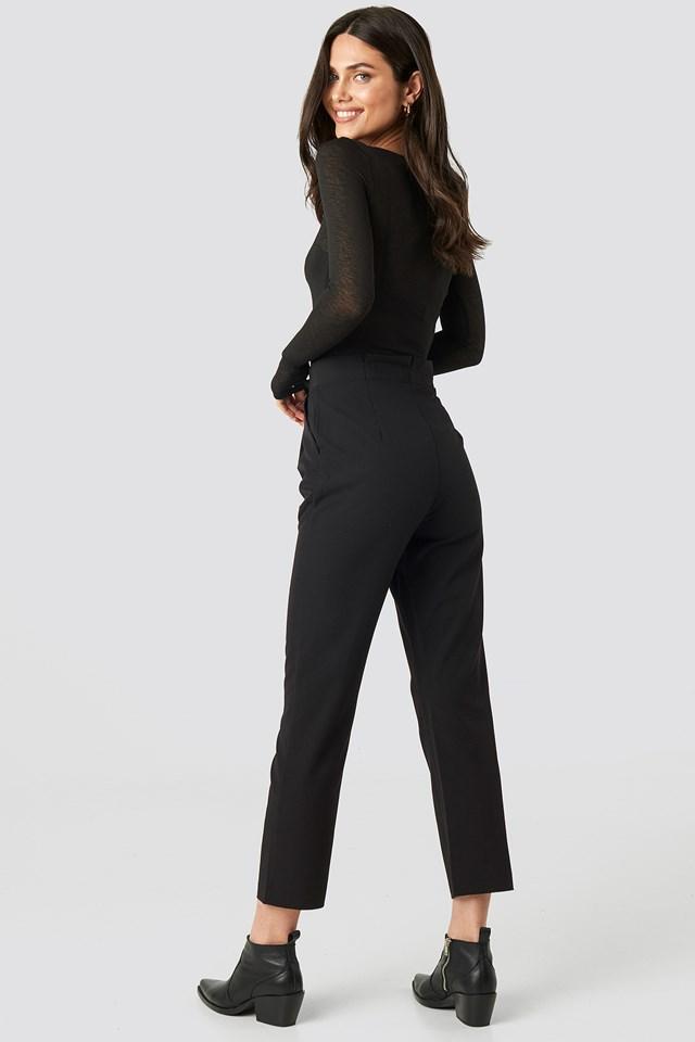 Paper Waist Straight Trousers Black