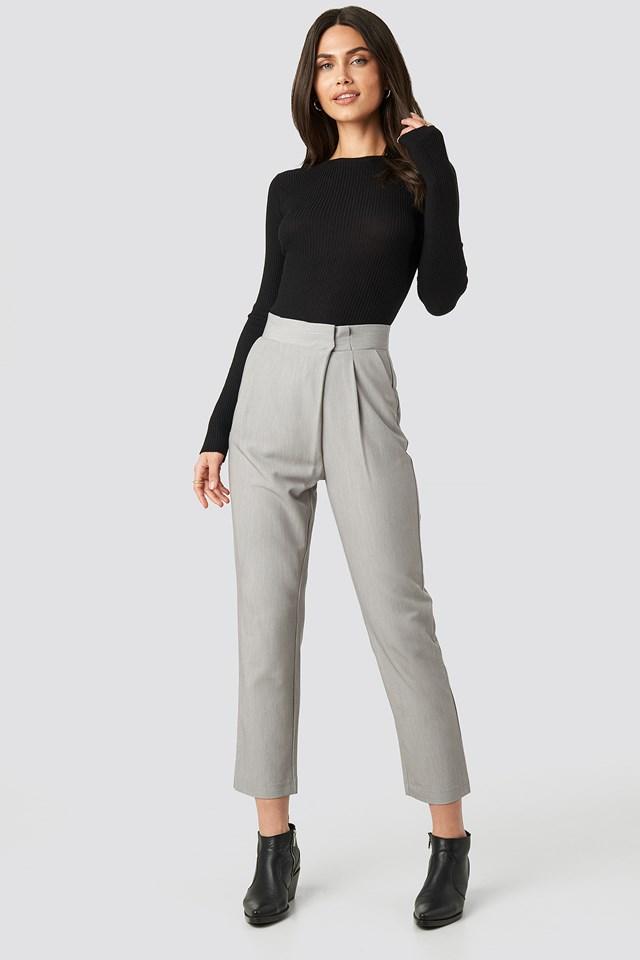 Paper Waist Straight Trousers Light Grey