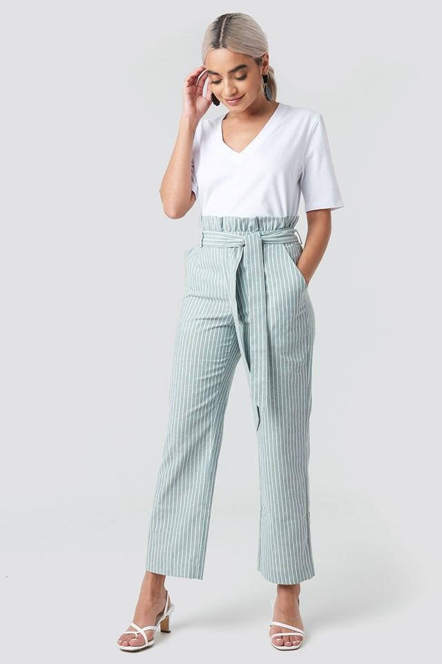 Paper Waist Striped Trousers NA-KD