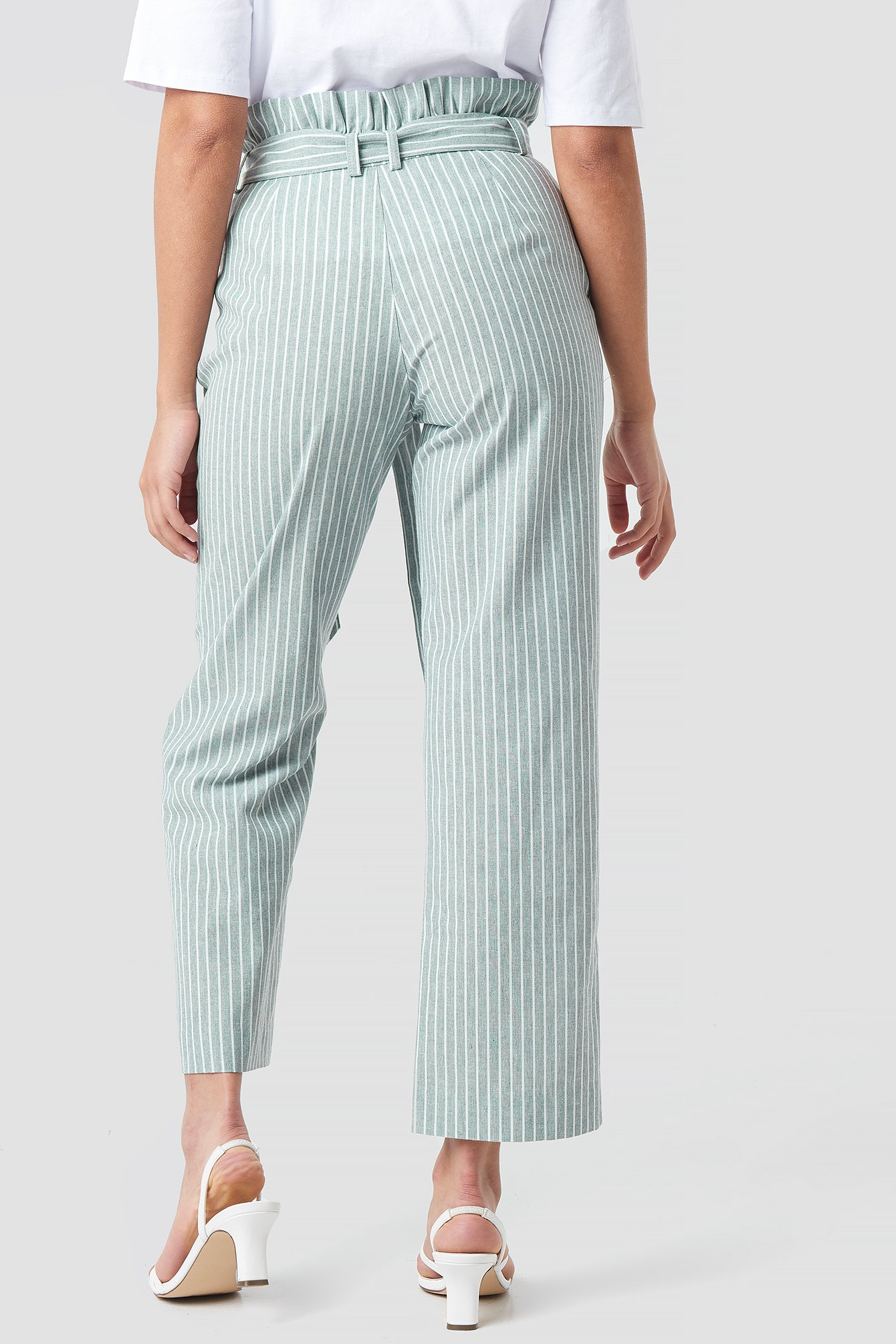 Green Paper Waist Striped Trousers