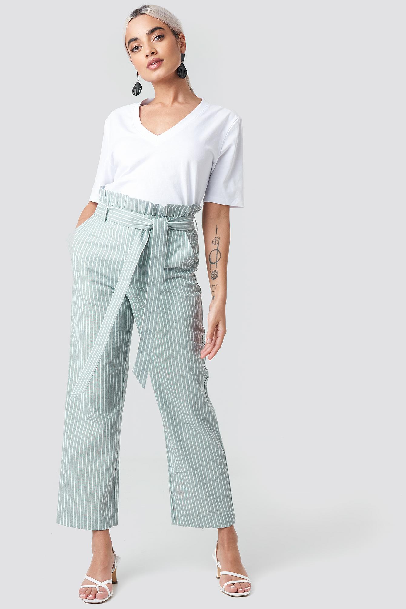 Paper Waist Striped Trousers NA-KD.COM
