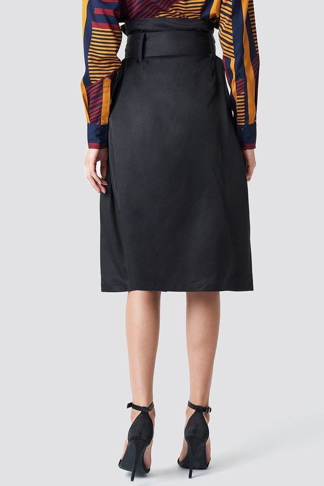 Paperbag Detail Midi Skirt Black