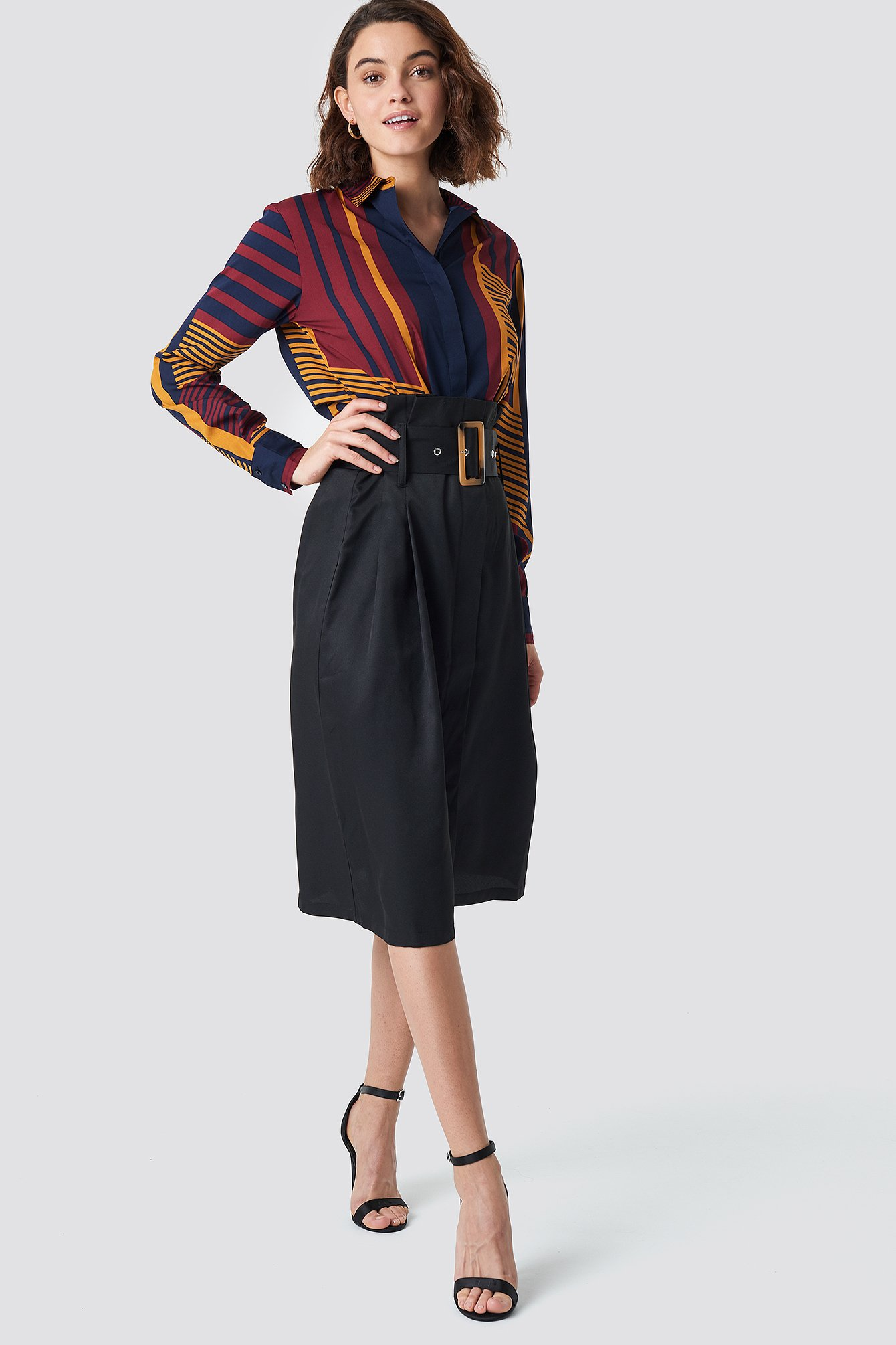 Paperbag Detail Midi Skirt NA-KD.COM